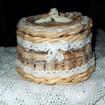 "Hand made wicker basket from paper ""Nostalgia"""