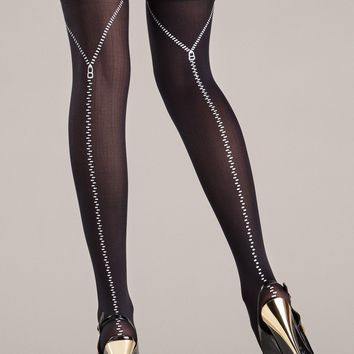 Black Opaque Zipper Design Thigh Highs
