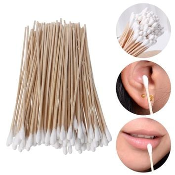 100Pcs/Set 15CM Cotton Swabs Stick Makeup Tools Wood Handle Applicator Q-tip For Wound Care Crafts