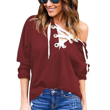 Burgundy Loose Fit Lace Up Hoodie