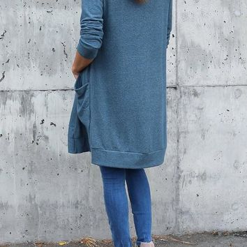 Blue Patchwork Pockets Draped Long Sleeve Fashion Sweater Cardigan