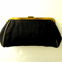 Black Clutch Bag, fabric handbag, gold frame, evening bag, vintage 50s 60s Mad Men purse, elegant high fashion, faille fabric