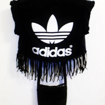 Grunge Adidas Knotted Fringe Crop Top