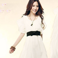 Flounce Sleeve High-Waisted Casual Chiffon Dress