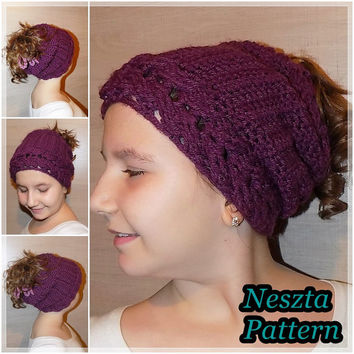 Crochet pattern, crochet ponytail hat pattern,crochet slouchy hat pattern, child, teen, adult sizes