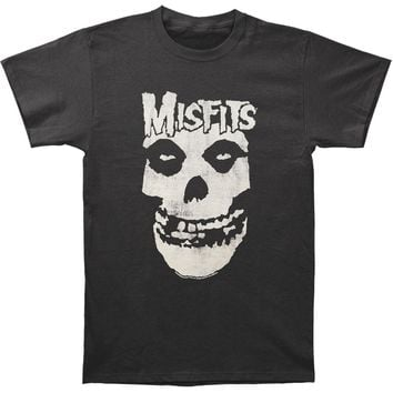 Misfits Men's  Distressed Skull Slim Fit T-shirt Coal