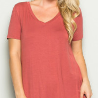 Solid Coral V Neck T Shirt