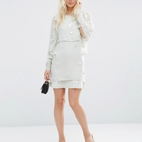 ASOS 3D Crop Top Layered Mini Dress