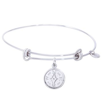Sterling Silver Balanced Bangle Bracelet With Compass Charm
