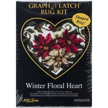 "Winter Floral Heart Shaped Latch Hook Kit 30""X27"""