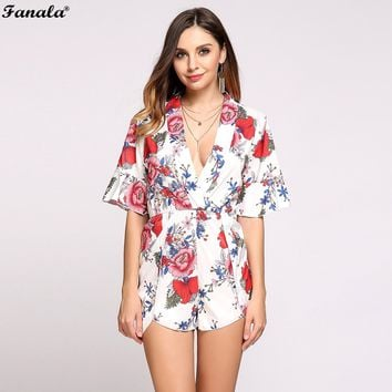 FANALA Sexy Summer Jumpsuit Women Rompers Print Casual Beach Party Deep V-Neck Short Sleeve Floral Pattern Bodysuit#30-30