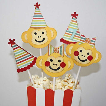 Monkey cupcake toppers / Circus monkey birthday theme / party hat and monkey face / set of 12