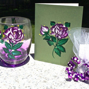 Hand Painted Stemless Wine Glass With Matching Card All Occasion Gift Set, Birthday Gift, Anniversary Gift, Bridesmaid Gift, Thank You Gift