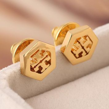 "Hot Sale ""Tory Burch"" Fashion Women Double T Letter Earrings Jewelry Golden I13028-1"