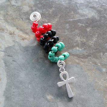 Dreadlock Jewelry, Wire wrapped, Beaded, Ankh hair accessory, ethnic jewelry