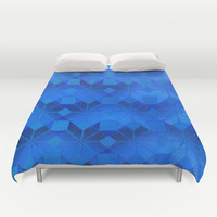 Twilight Duvet Cover by Gréta Thórsdóttir  #scandinavian #snowflake #pattern #blue #cobalt #ombre #nightfall #bedroom