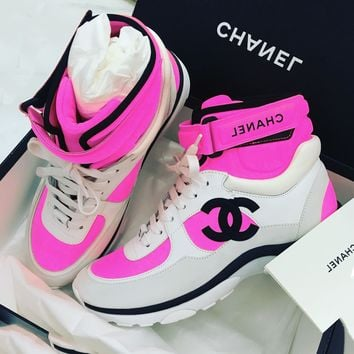 Chanel Orange High Tops Women's Sneakers Lace Up With Buckle Bandage Spots Shoes B-GSXC-LXYZ Pink