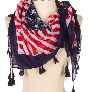 American Flag Scarf Red White Blue USA  Scarf Patriotic Scarf July 4th Memorial day stars and stripes - By PiYOYO