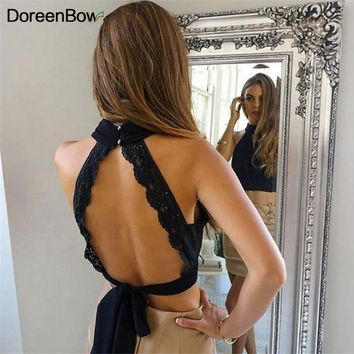 DoreenBow Summer Fashion Women elastic cotton Tie back Camis Tied Strap Crop Tops backless tank tops cross camisole black