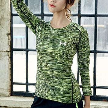Under Armour Fashion Women Men Long Sleece Sweater Shirt Yoga Suit Green