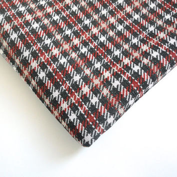 Houndstooth plaid fabric 1 and a half  yards, fall colors polyester vintage fabric in rust, charcoal grey, beige and white