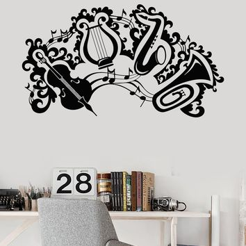 Vinyl Wall Decal Music Violin Musical Instrument Trumpet Harp Stickers Unique Gift (ig3350)