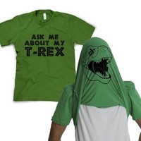 Men's Ask Me about My T-Rex T-Shirt Tee Funny Graphic Tee Green Size XL