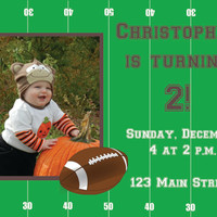 Football birthday invitation- photo birthday invitation, football photo card, DIY, digital file