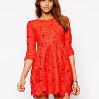 Arrogant Cat Long Sleeve Lace Skater Dress