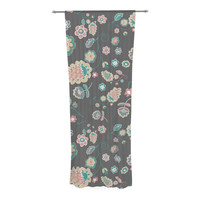 "Nika Martinez ""Cute Winter Floral"" Gray Pastel Decorative Sheer Curtain"