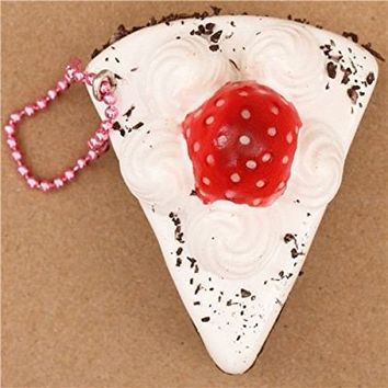 Black-white strawberry short cake piece squishy cellphone charm