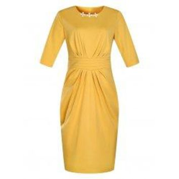 Ruched Modest Work Fitted Dress