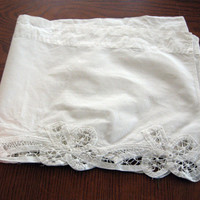 Valance White Battenberg Lace Curtain Cottage Garden Shabby Chic 60 x 12 vintage 50s