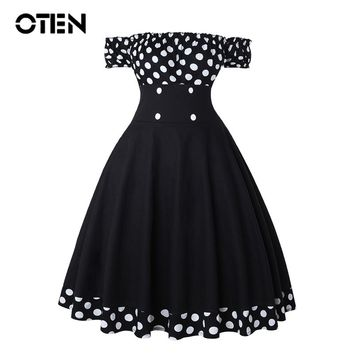 OTEN Sexy Women dress Summer Off shoulder Polka Dot Printed Button A Line Pin up Vintage Rockabilly Skater Party robe dresses