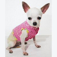 Pink Dog Clothes Net Crochet Cardigan Pet Fashion Chihuahua Clothing Puppy Costume DF18 Myknitt - Free Shipping