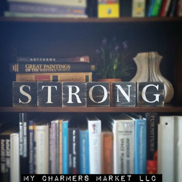 Strong Sign, Strong Art, Strong Tile Letters, Strong Wall Decor, Wooden Letter Blocks, Wood Letter Tiles, Shabby Chic Sign Set, Gift Idea
