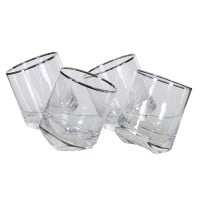 Tipsy Glass Tumblers With Silver Rim