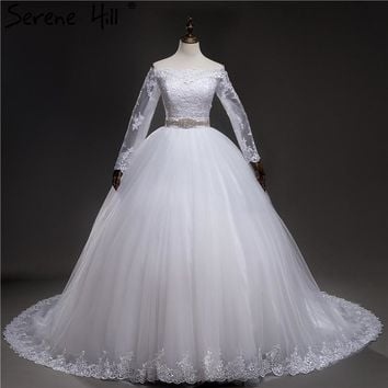 Ball Gown NewCovered Buttons Belt Lace Bridal Dress Mariage Long Sleeve Wedding Dresses