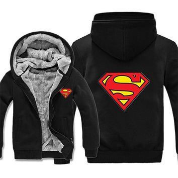 Superman Hoodies Warm Liner The Flash Man Coat Jacket Batman Hoodies Winter Men Thick Superman Sweatshirts