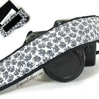 Elephant Camera Strap w/Pocket, Grey, Gray, Black, White, dSLR, SLR, Lucky Elephant