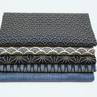 Asanoha Seigaiha Yagasuri Japanese cotton fabric pack for quilting, patchwork, craft and sewing (B)