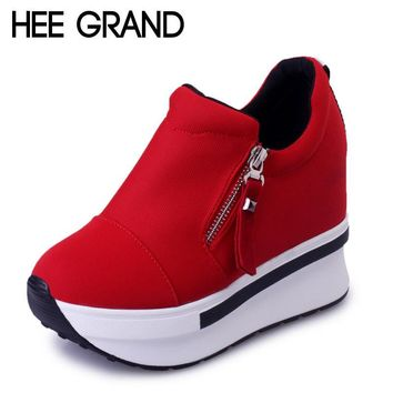 HEE GRAND Wedges Women Boots 2017 New Platform Shoes Woman Creepers Slip On Ankle Boot