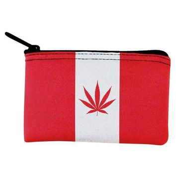 ESBGQ9 Canada Flag Pot Leaf Marijuana Coin Purse