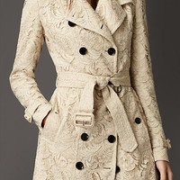 Mid-Length Cotton Lace Trench Coat
