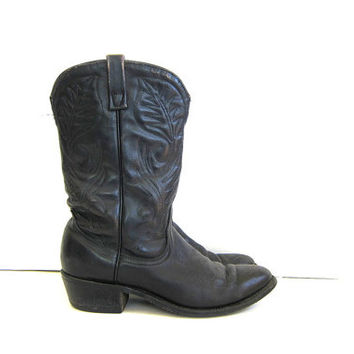 20% OFF SALE Vintage black leather boots. Mens cowboy boots. Tall leather boots. Western boots.