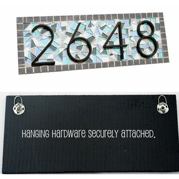 Mosaic Address Plaque // Outdoor House Number Sign // Custom Mosaic // Blue, Aqua, Gray // Beach House Decor