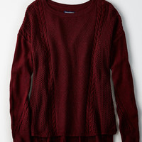 AEO Softest Stitchmix Sweater, Burgundy