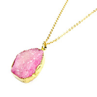 Pink Gold Plated Druzy Necklace - Crystal & Druzy Jewellery, Druzy Jewellery, Pink Druzy, Druzy Jewelry