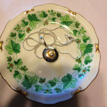 Royal Crown Derby Dish Fine China Small Plate - TeaCup Saucer Ivy Pattern - Trinket Dish - Jewelry Tray