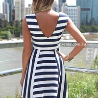 THE NAVY & WHITE STRIPES DRESS , DRESSES, TOPS, BOTTOMS, JACKETS & JUMPERS, ACCESSORIES, 50% OFF , PRE ORDER, NEW ARRIVALS, PLAYSUIT, GIFT VOUCHER,,White,Print Australia, Queensland, Brisbane